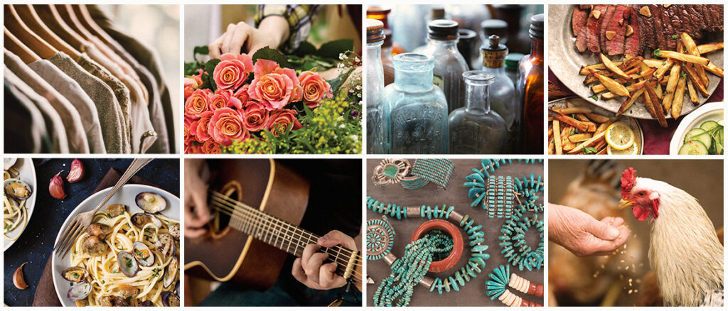 clothing rack, flowers, old medicine bottles, steak and fries, pasta and clams, guitar, turquoise jewelry, and a rooster