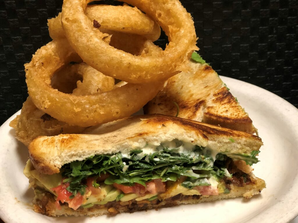 blt sandwich and onion rings
