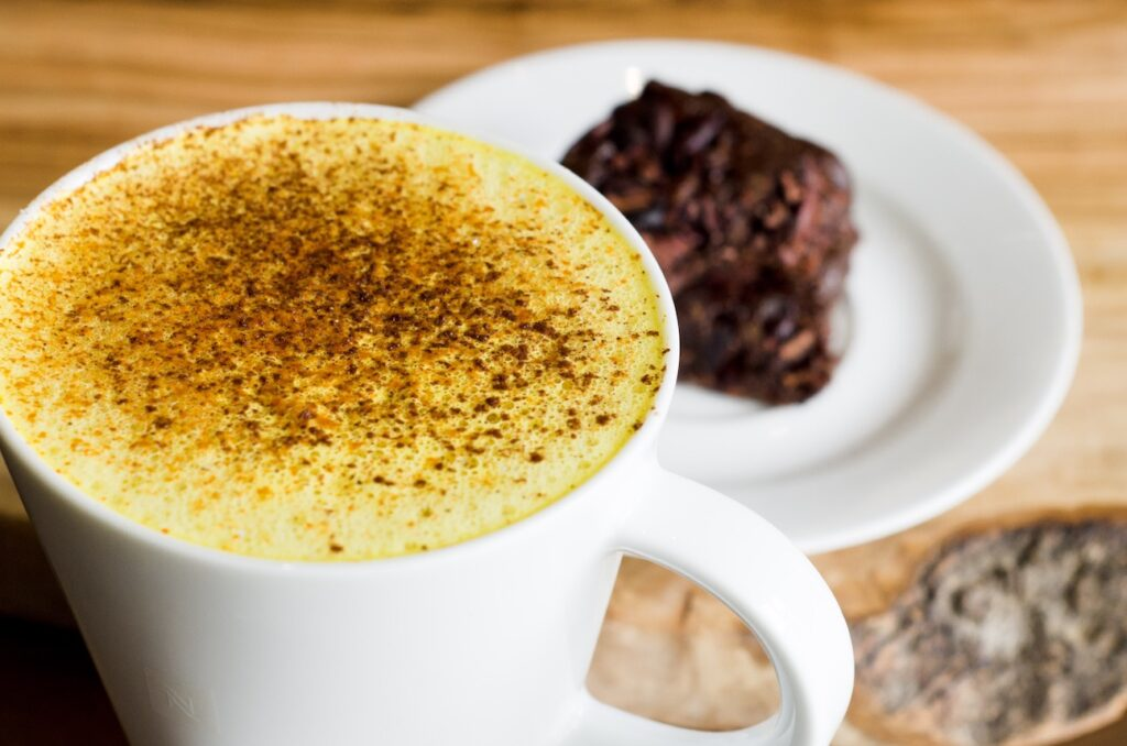 latte and brownie