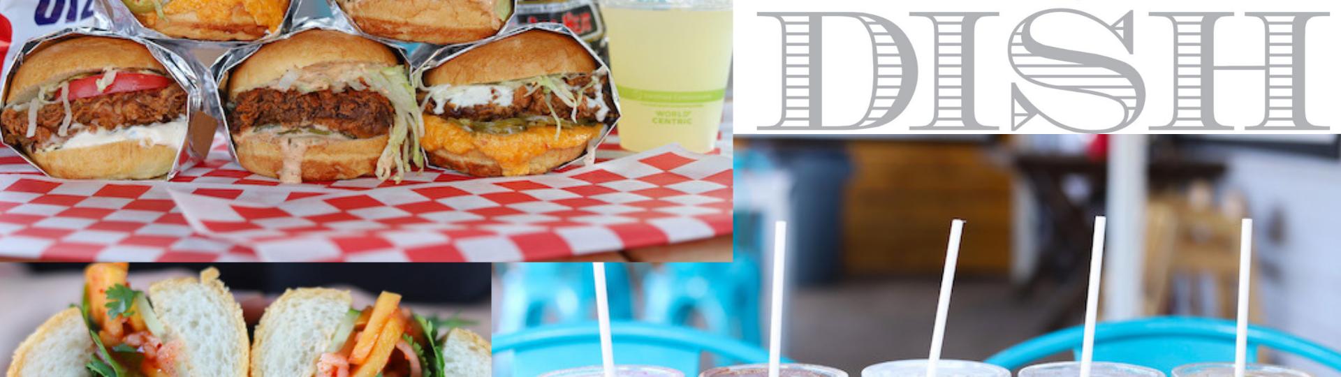 pulled pork burgers, delicious dish logo, chicken sandwich, milkshakes