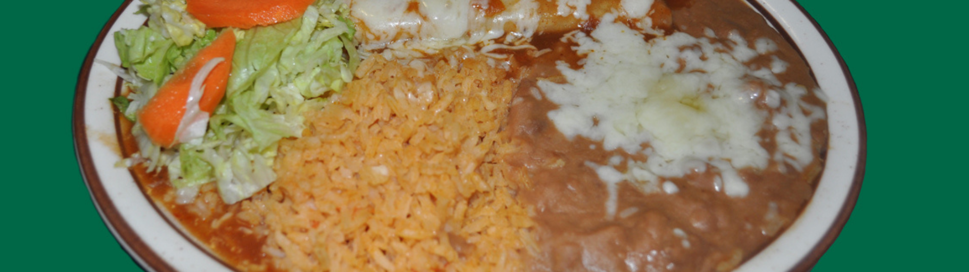 enchilada, rice, and beans