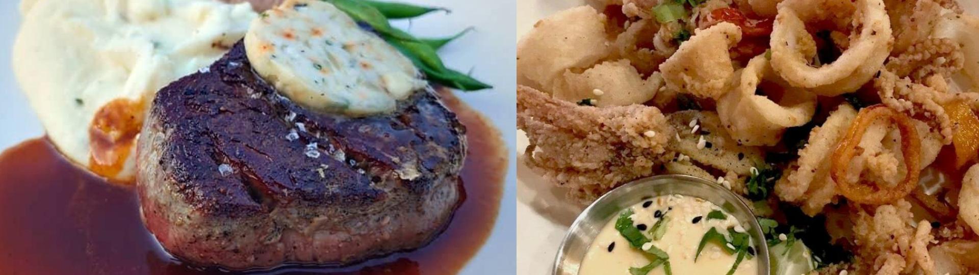 steak, and calamari