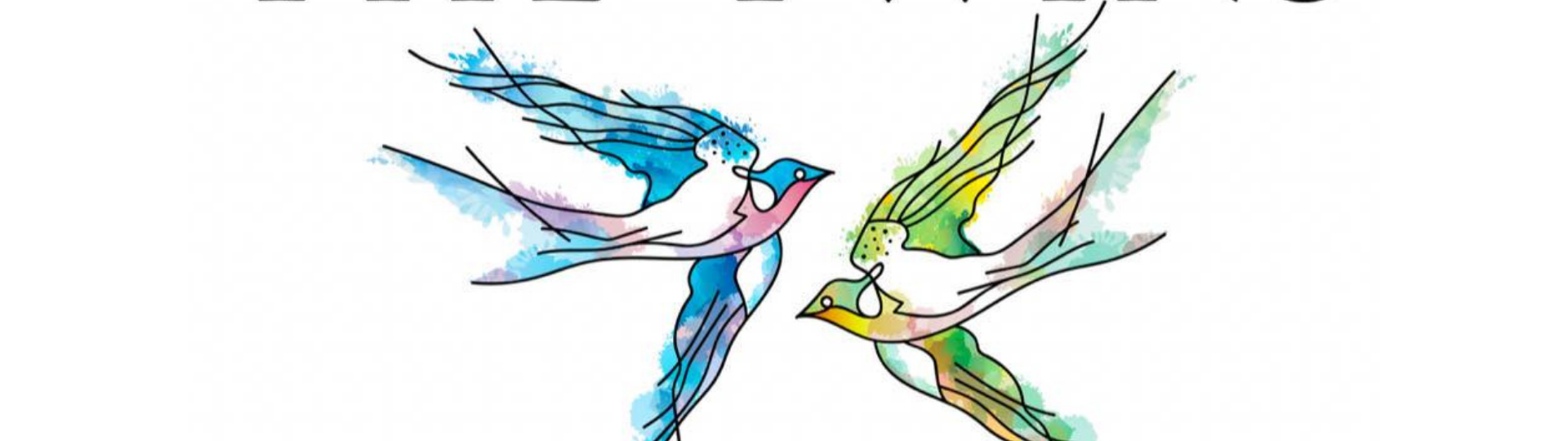 the twins restaurant logo. two watercolor birds